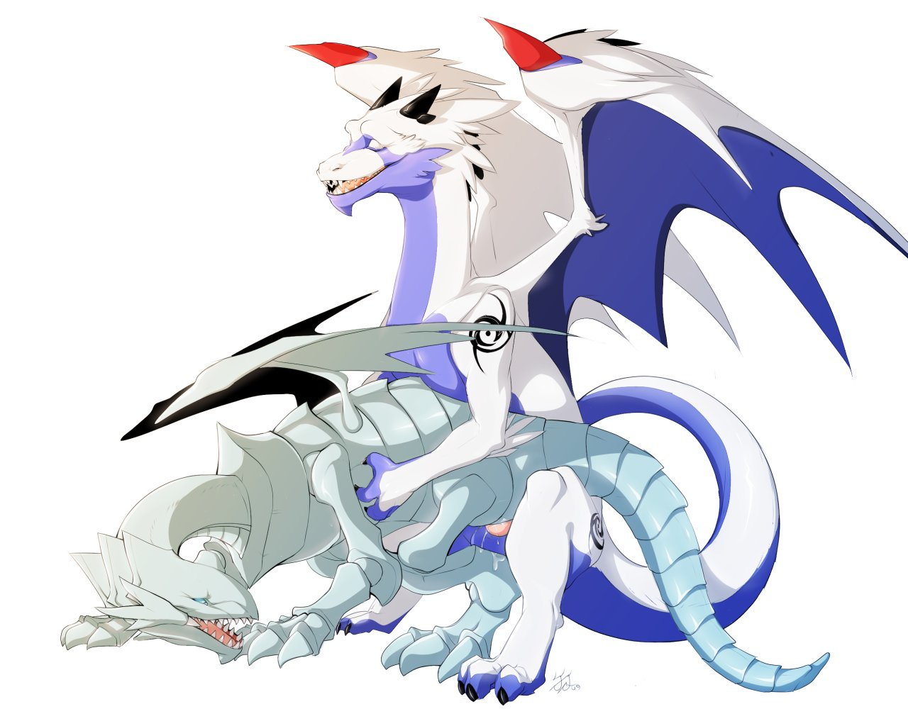 toon dragon blue white eyes Sans and papyrus and frisk